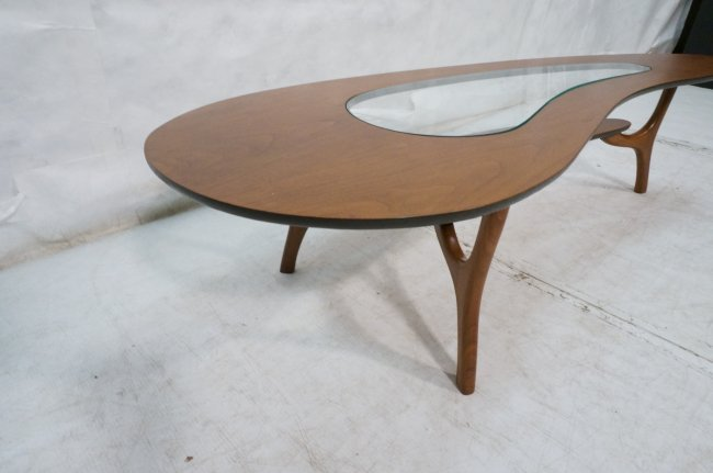 Kidney Shaped Walnut Coffee Table Inset Glass To Lot 503