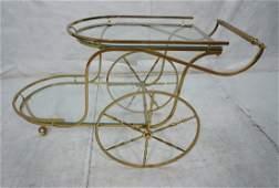 Decorator Two Level Brass  Glass Tea Cart Large
