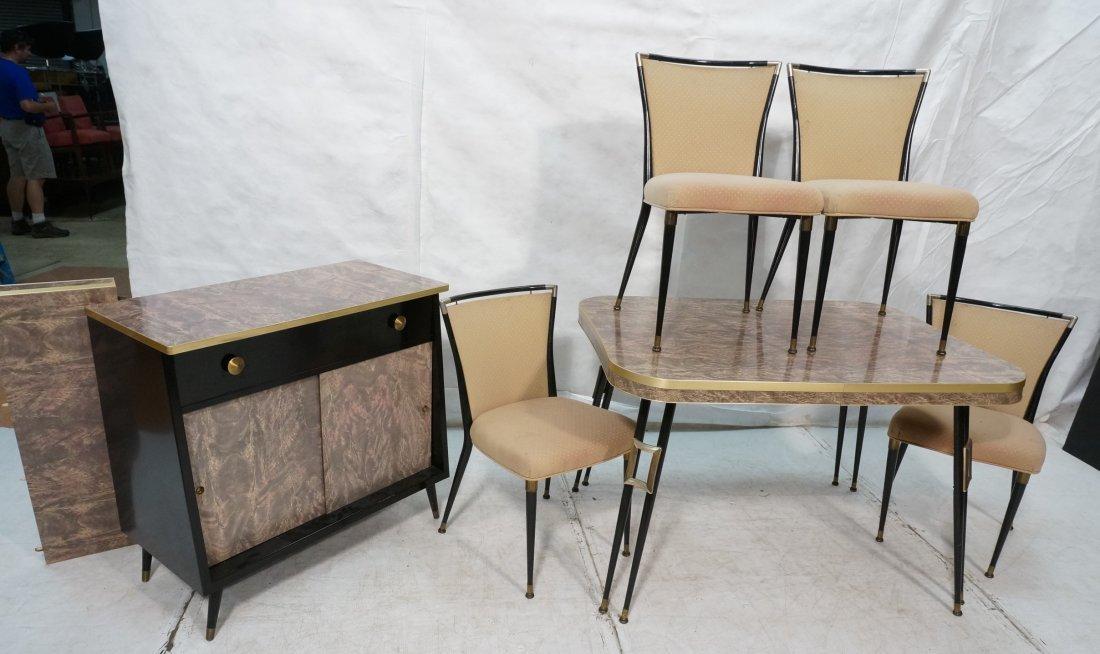 6pc 70's Modern Marbled Laminate Dining Set. Tabl