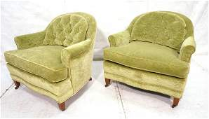Pr Vintage Green Velvet Lounge Chairs. Arched Tuf