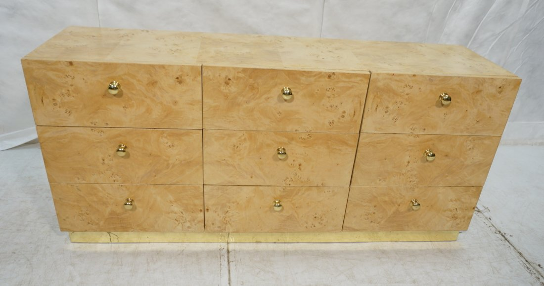 FOUNDERS Burl Wood Nine Drawer Dresser Chest. Cre