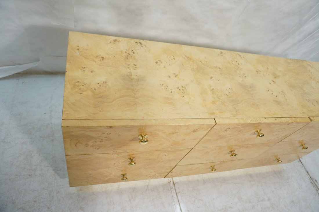 FOUNDERS Burl Wood Nine Drawer Dresser Chest. Cre - 3
