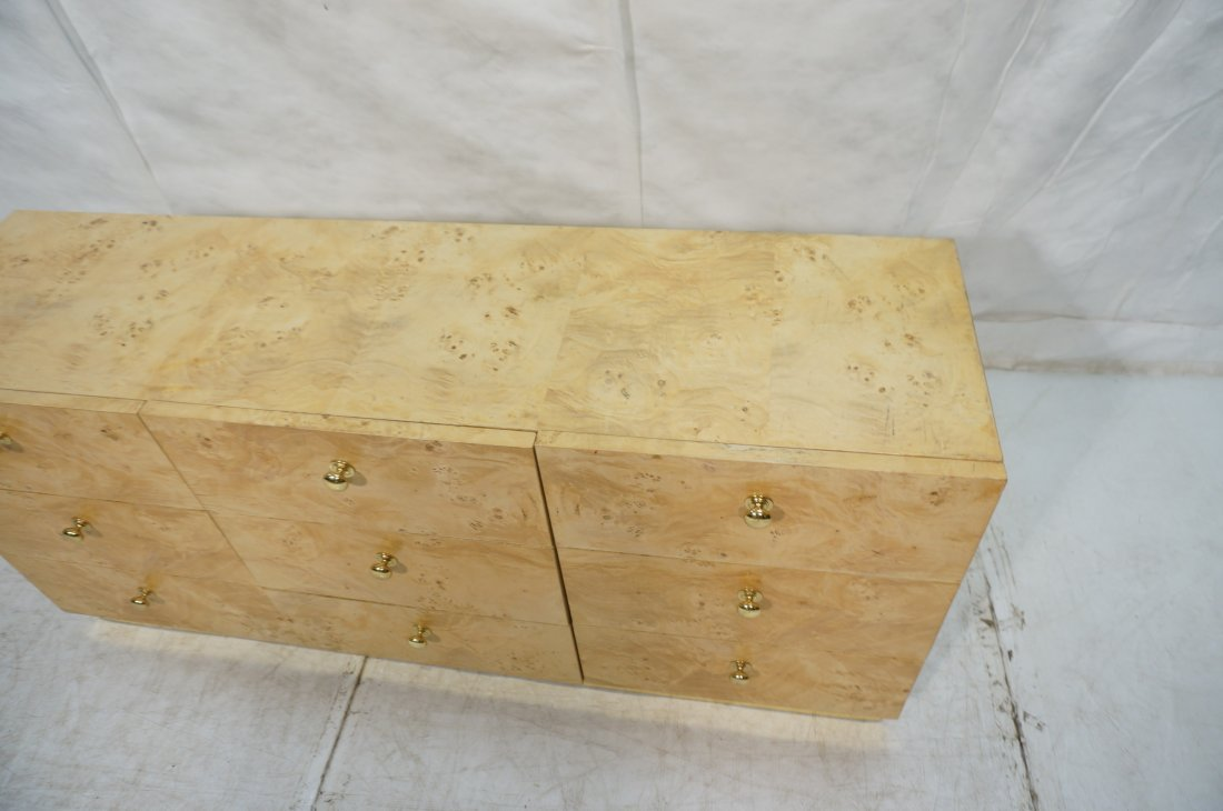 FOUNDERS Burl Wood Nine Drawer Dresser Chest. Cre - 4