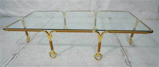 GUCCI Coffee Cocktail Table Brass Leather Horse Bit - Gucci coffee table