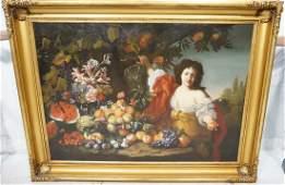 19th c. Antique Oil Painting. Woman w/ Fruit Stil