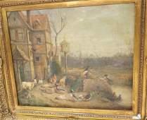 Oil Painting. ANTON HOFFMAN? Country Farm Scene w