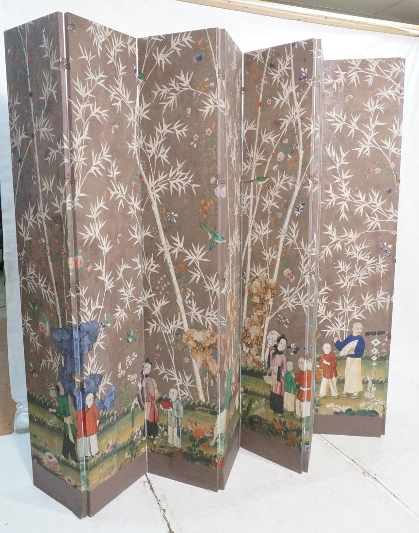 Antique Chinese Painted Room Divider Wallpaper Screen