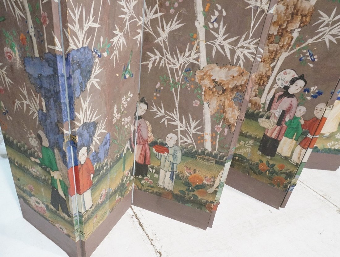 Antique Chinese Painted Room Divider Wallpaper Screen - 2