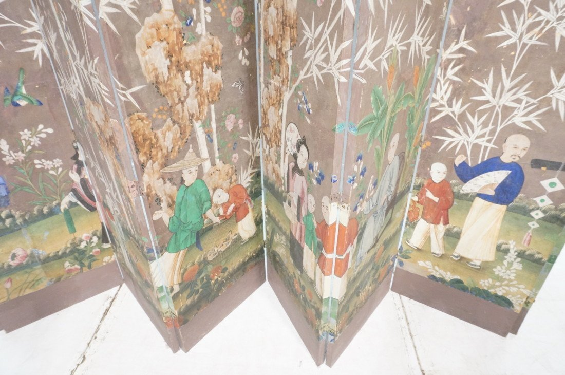 Antique Chinese Painted Room Divider Wallpaper Screen - 3