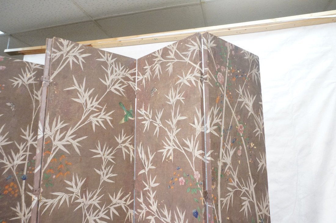 Antique Chinese Painted Room Divider Wallpaper Screen - 5