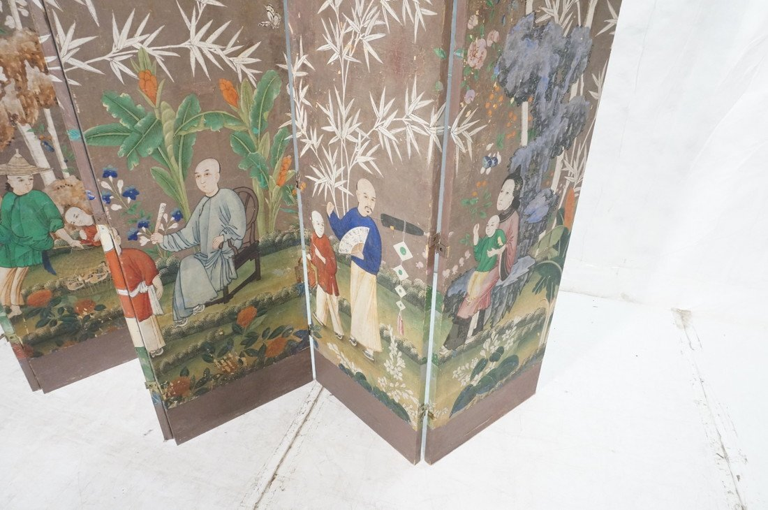 Antique Chinese Painted Room Divider Wallpaper Screen - 6