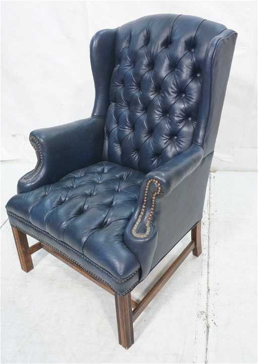 Navy Blue Leather Chesterfield Style Wing Chair