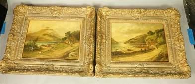 2pc Oil Paintings on Canvas W B MITCHELL Coasta