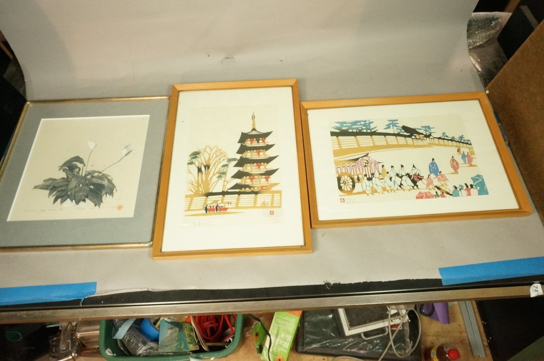3pc Asian Japanese Woodblock Prints. Two are sign
