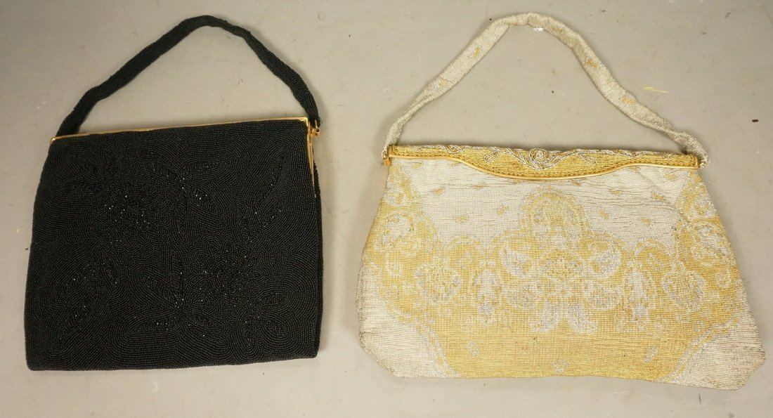 2pc Vintage French Elegant Beaded Evening Bags Pu