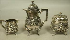 Sterling 800 Silver Antique 3pc Tea Set Small s