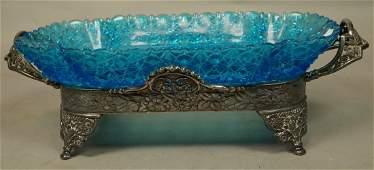 Victorian Hartford Silverplate & Blue Glass Center Bowl