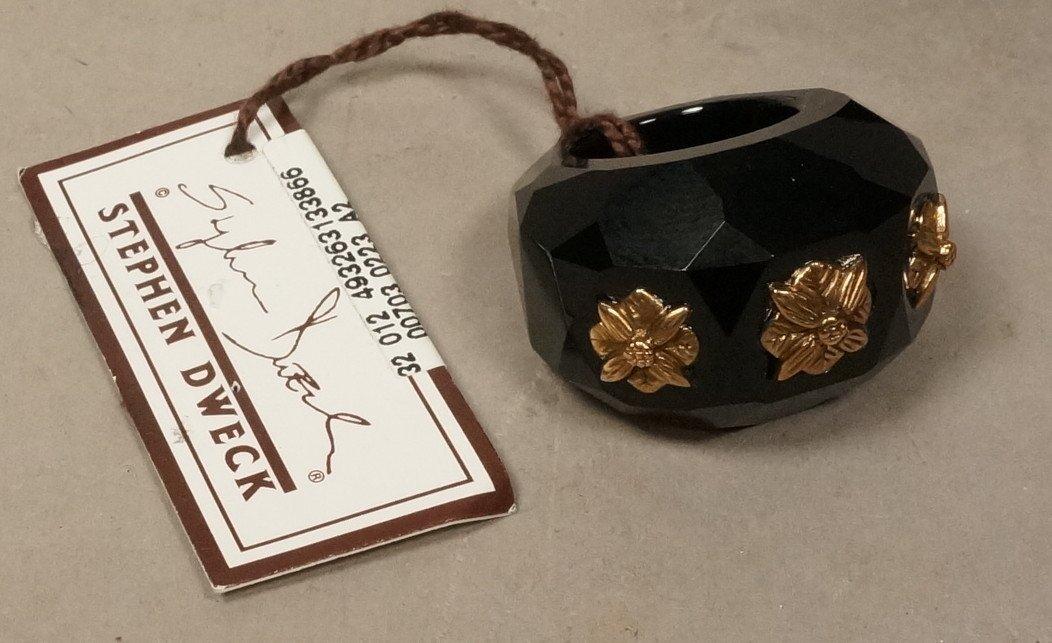 STEPHEN DWECK Bronze Black Agate Ring. NEW.  Larg