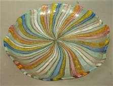 Murano Italy Art Glass Bowl Radiating colorful r