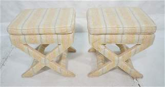 Pr Fabric upholstered benches stools. Striped cre
