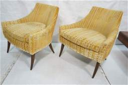 Pr Upholstered Lounge Chairs. Gold striped fabric