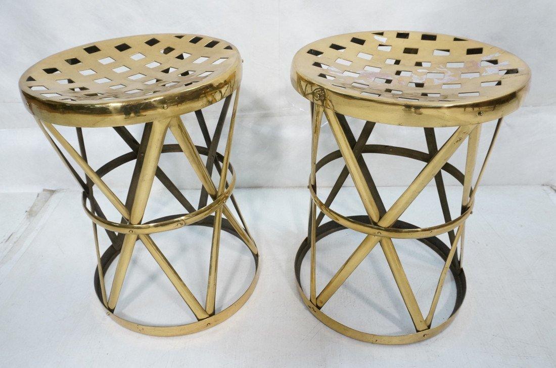Pr SARREID Style Brass Corseted Stools. Pierced t