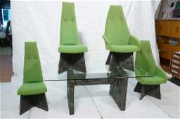 PAUL EVANS Style Brutalist Dining Table 4 Chairs.