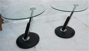 Pr Italian style Cantilever Glass Top Chrome Side