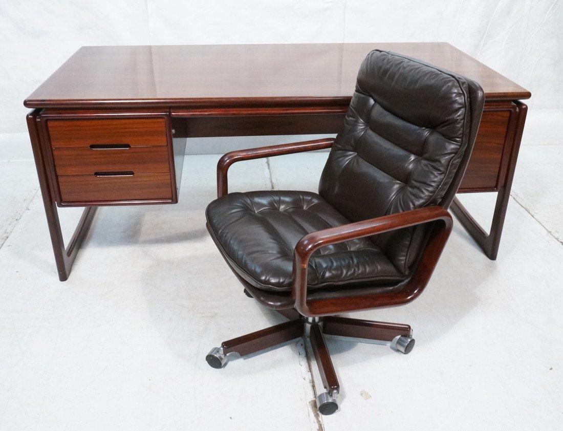 DYRLUND Danish Rosewood Desk & Office Chair. Four
