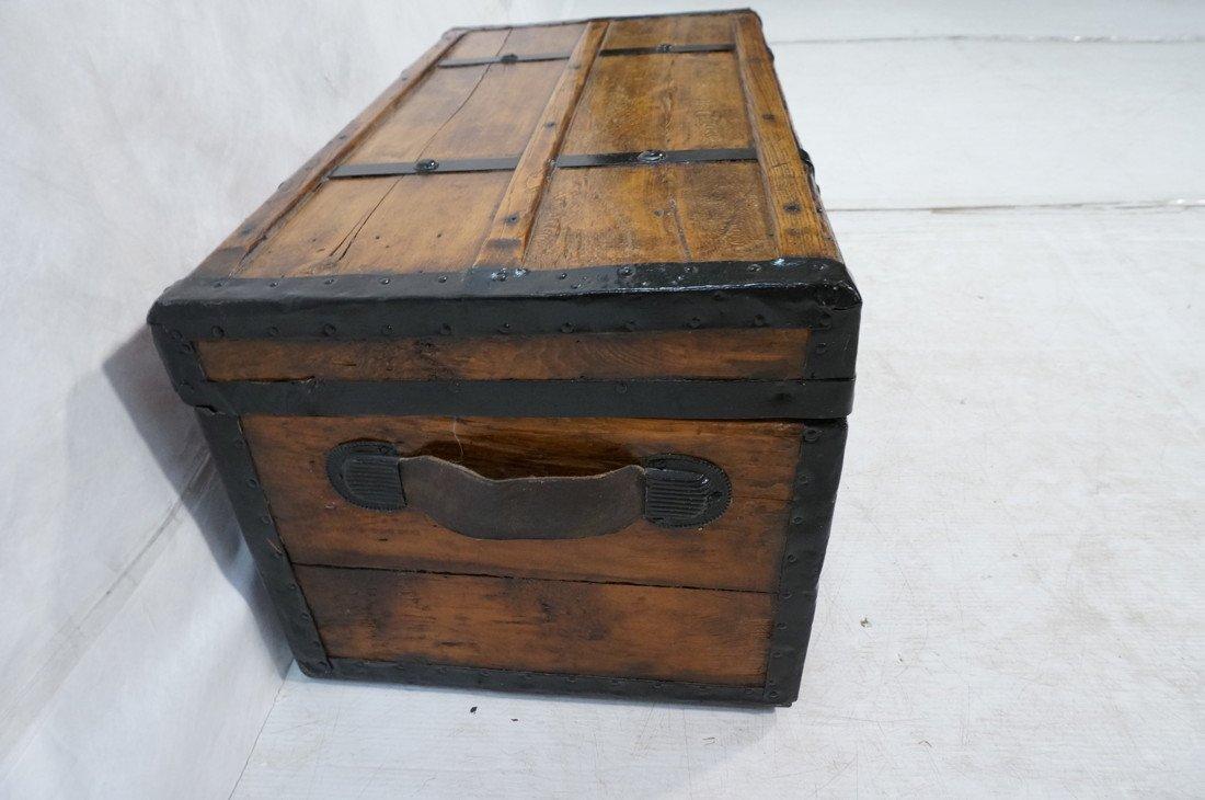 Antique wooden chest. Black metal straps. Leather - 3