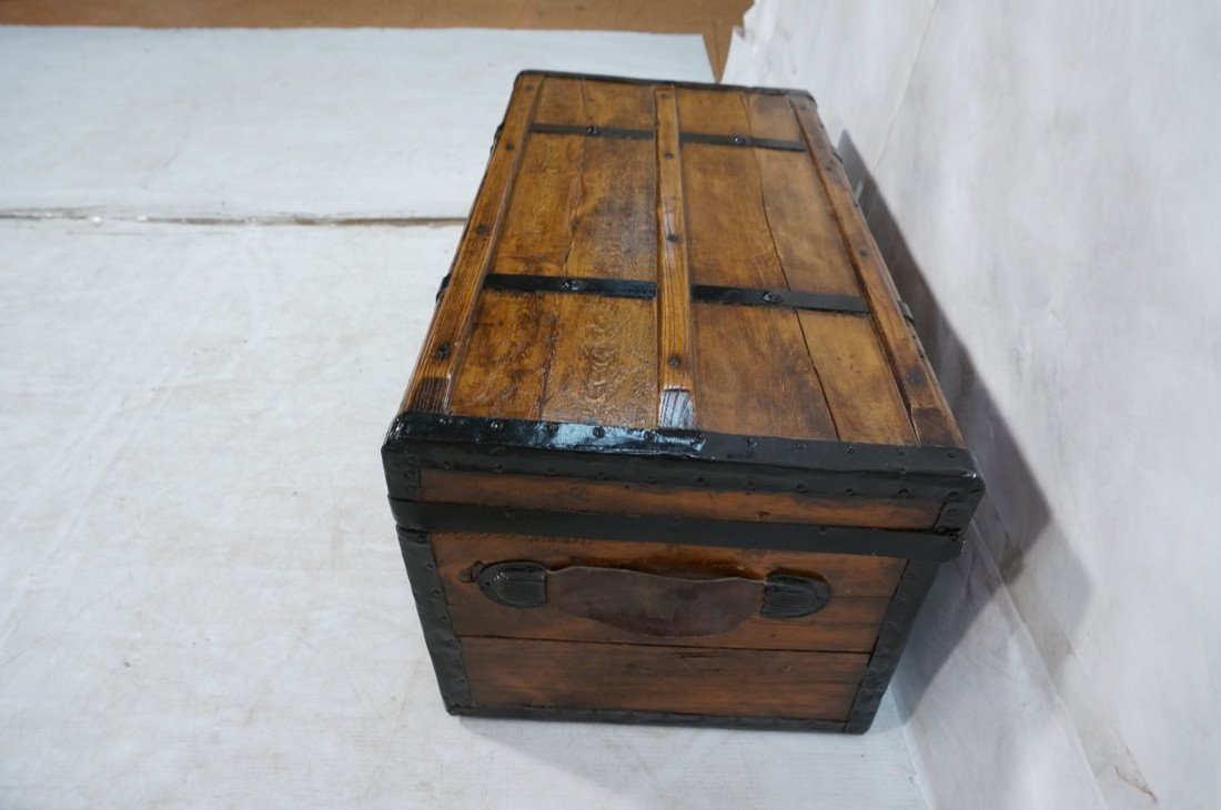 Antique wooden chest. Black metal straps. Leather - 5