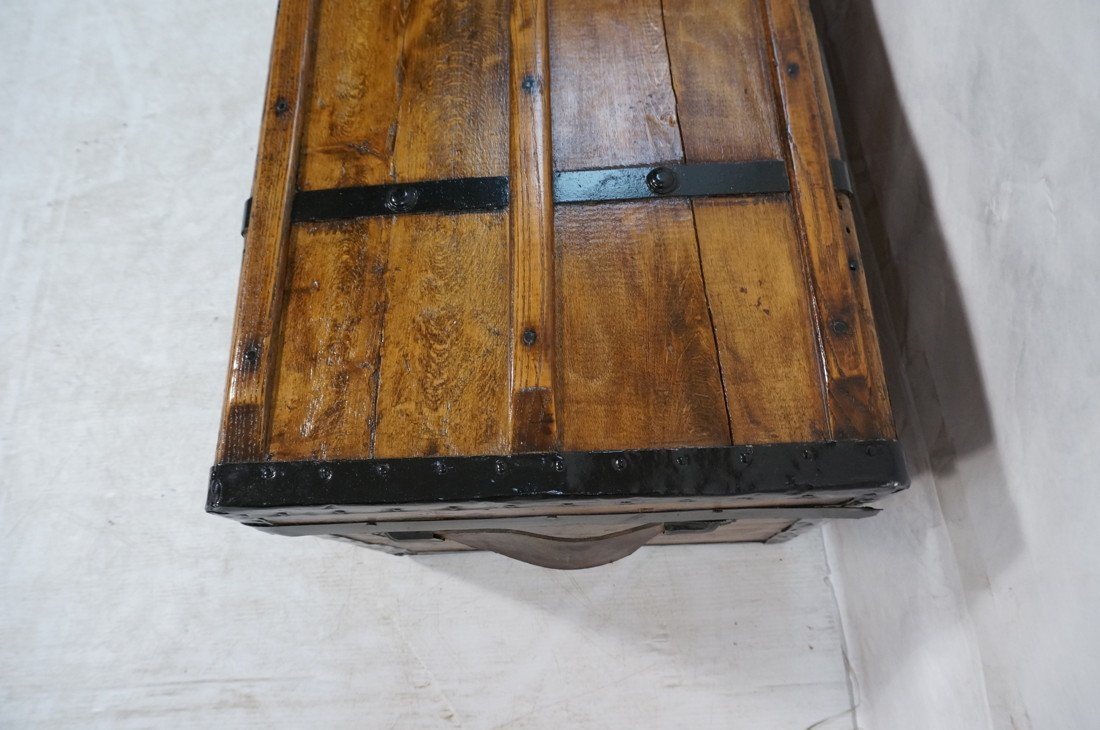Antique wooden chest. Black metal straps. Leather - 6