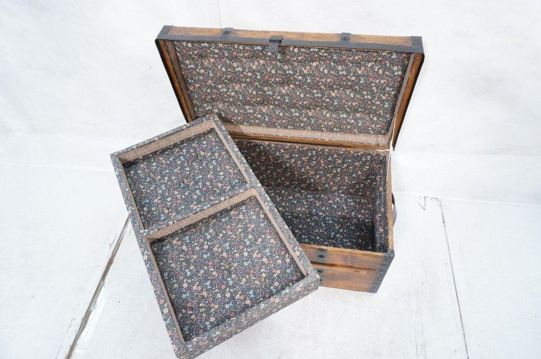 Antique wooden chest. Black metal straps. Leather - 7