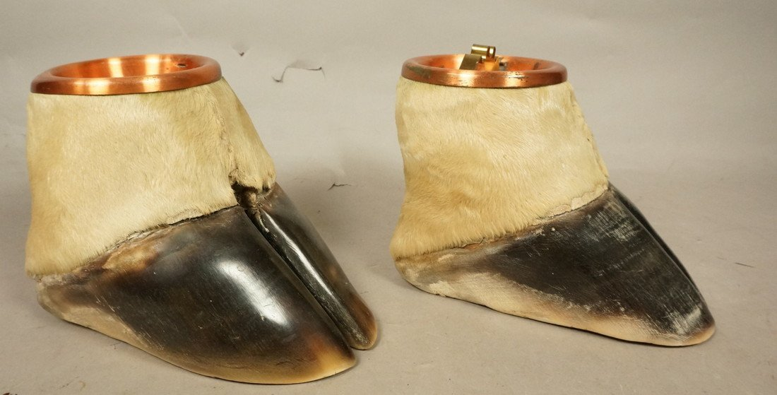 Pair Giraffe Hoof Ashtrays.  Copper lines. Taxide
