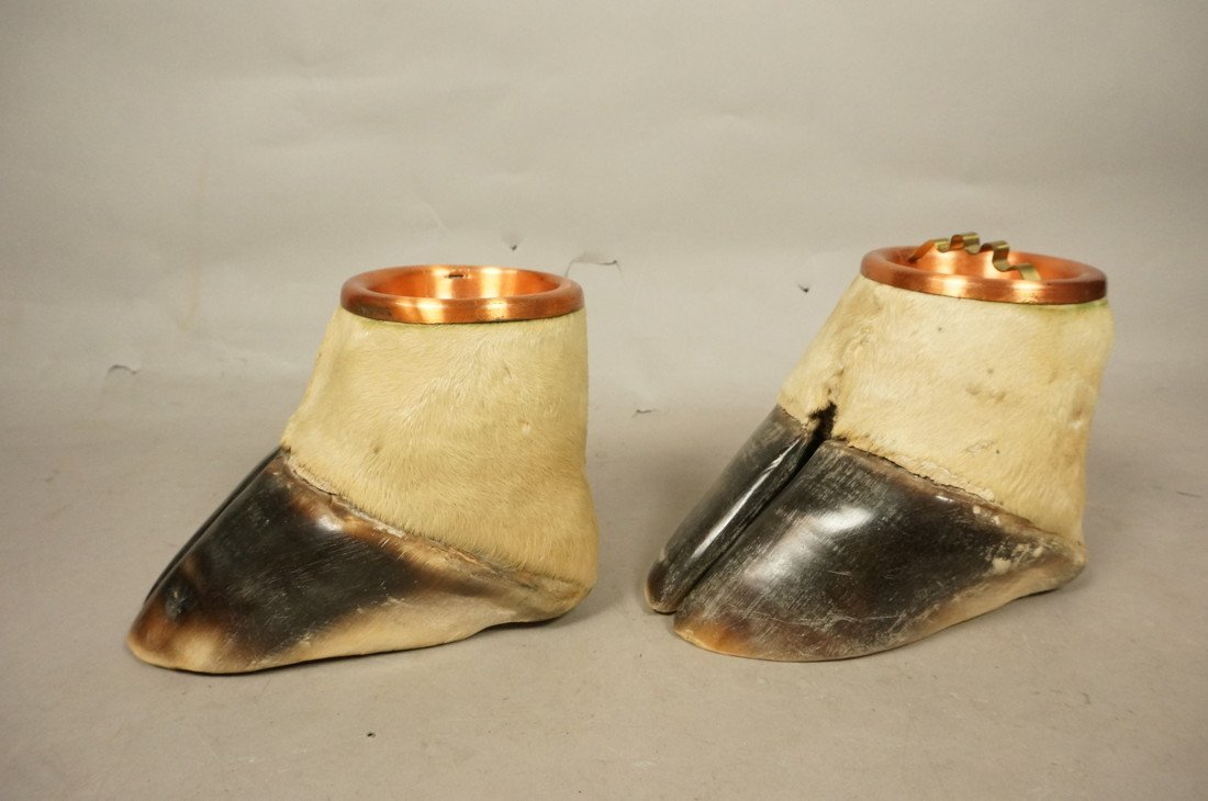 Pair Giraffe Hoof Ashtrays.  Copper lines. Taxide - 2
