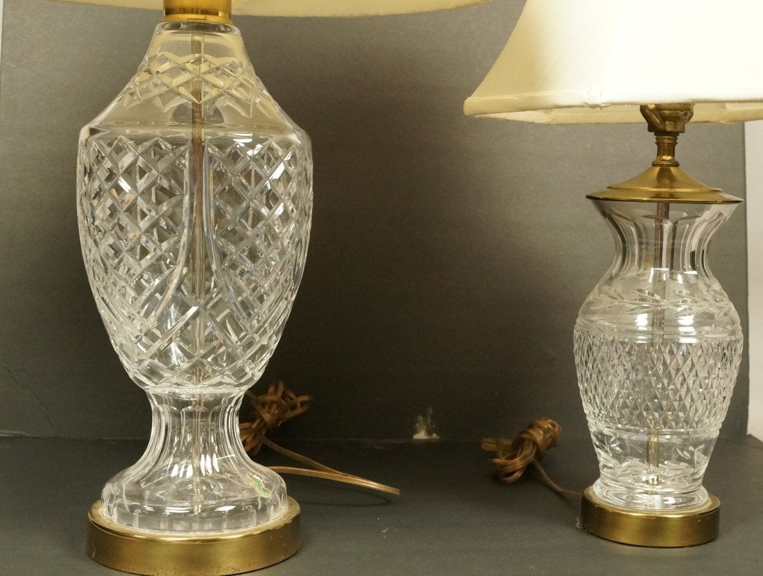 2pc WATERFORD Crystal Table Lamps. Both Have Bras
