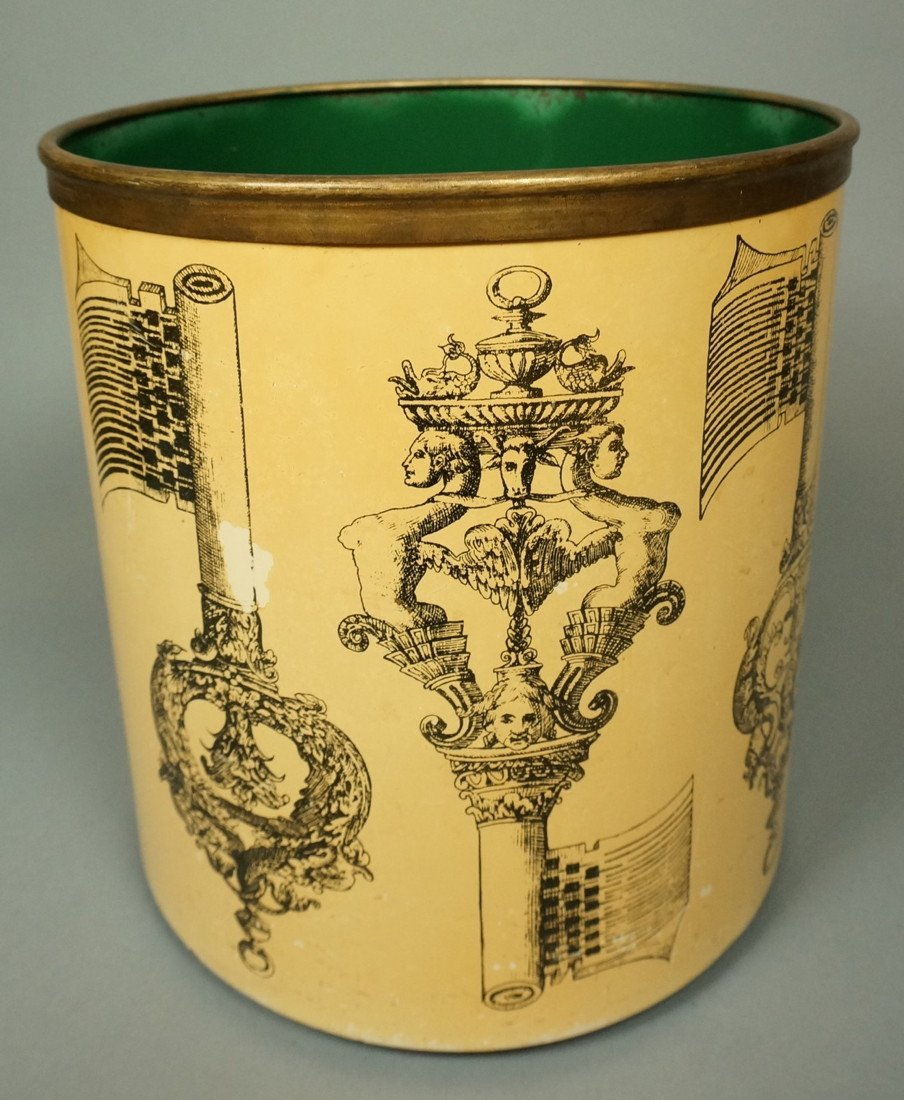 PIERO FORNASETTI Vintage Waste Basket Trash Can.