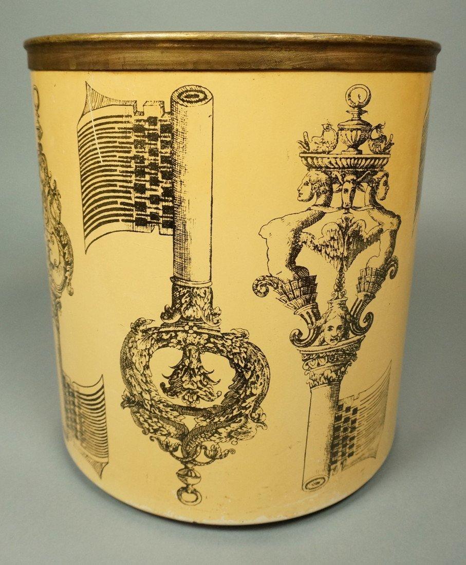 PIERO FORNASETTI Vintage Waste Basket Trash Can. - 2