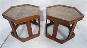 Pr BROWN SALTMAN Hexagonal Side Tables. Walnut Am