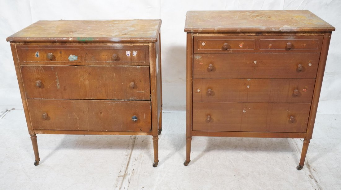 2pc Industrial Metal Dresser Chest Drawers. Metal