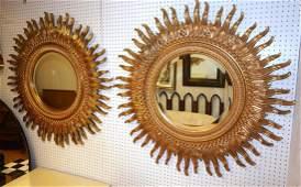 Pr Large LaBARGE Sunburst Gilt Wall Mirrors. Beve