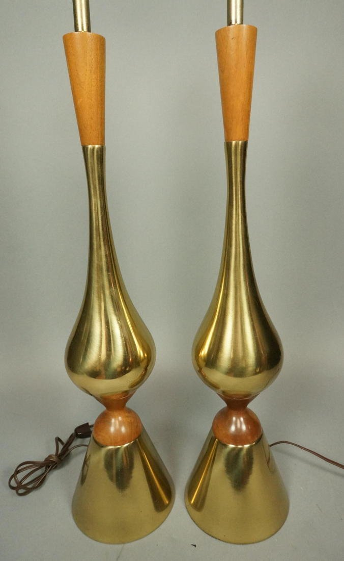 Pr American Modern Brass & Wood Table Lamps. Tall