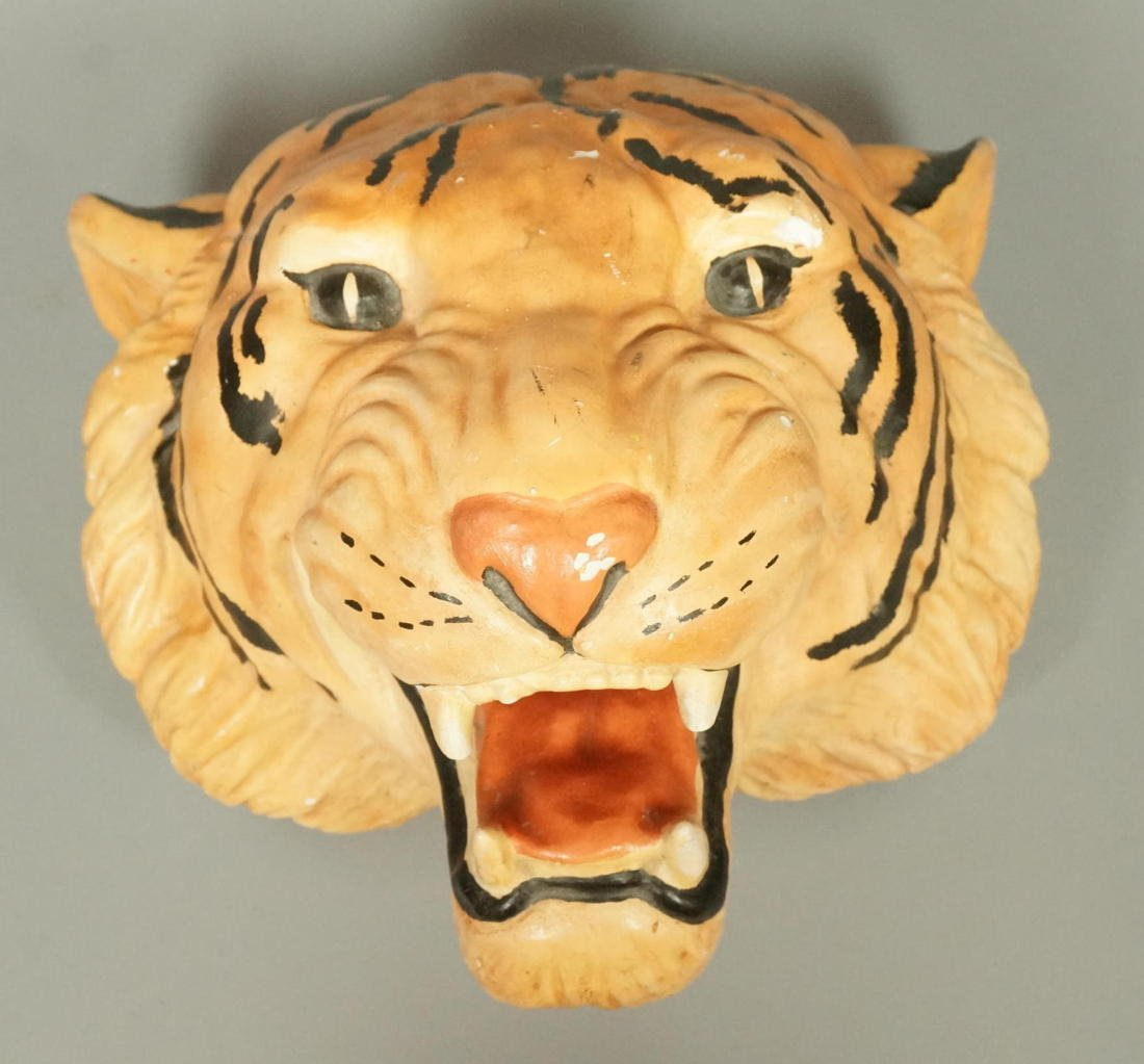 Large Plaster Tiger Wall Mount Head Sculpture.  P