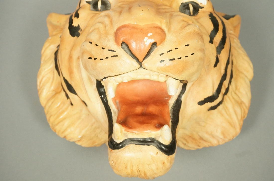 Large Plaster Tiger Wall Mount Head Sculpture.  P - 3