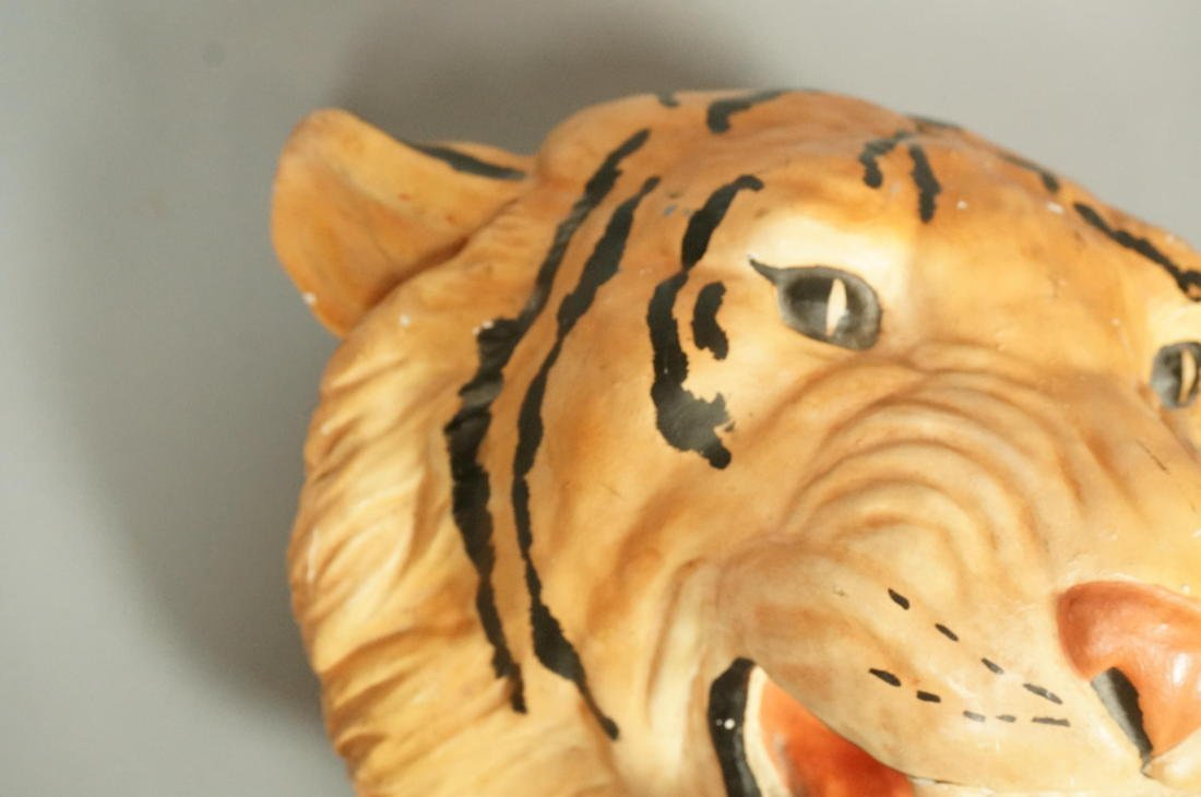 Large Plaster Tiger Wall Mount Head Sculpture.  P - 4