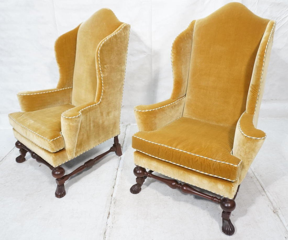 Pr BAKER Furniture Gold Velvet Wing Chairs. Gold