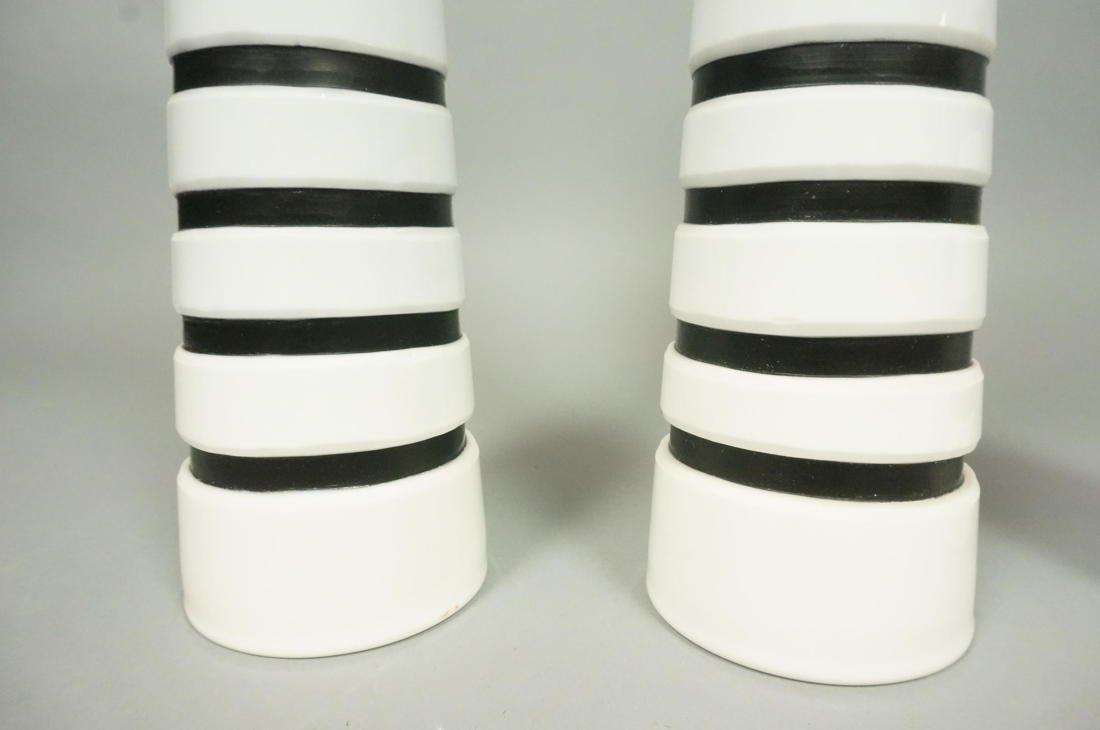 Set 3 SALVIATI Art Glass Murano Vases. White Cone - 3