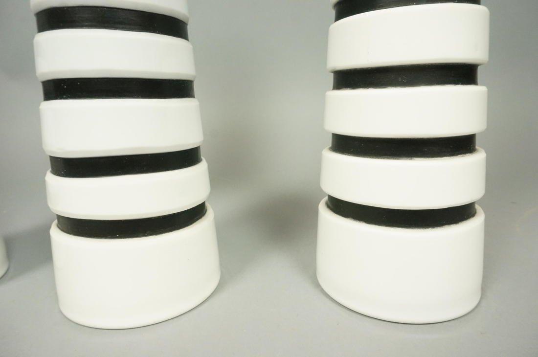 Set 3 SALVIATI Art Glass Murano Vases. White Cone - 4