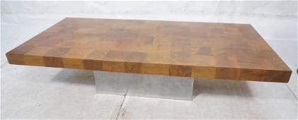 Large PAUL EVANS Wood Parquet Top Cocktail Table