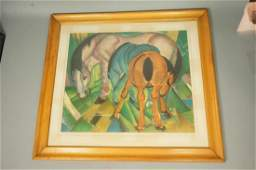 Vintage FRANZ MARC Colored Print Three Horses